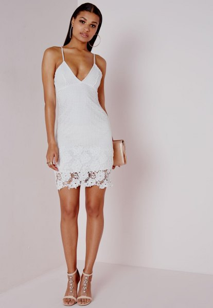white deep v neck bodycon dress lace overlay