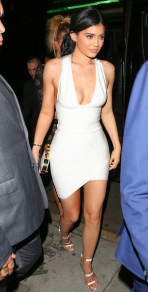 white deep v neck bodycon dress
