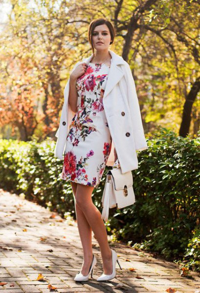 white floral bodycon dress wool coat
