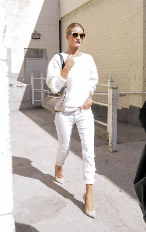 white fluffy sweater white jeans