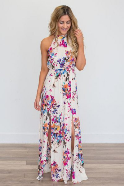 white halter gathered waist floral double slit dress