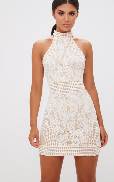 white halter lace crochet mini bodycon dress