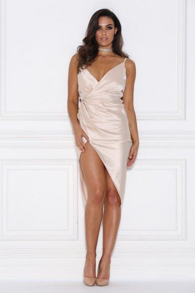 white high split satin wrap dress sparkly choker