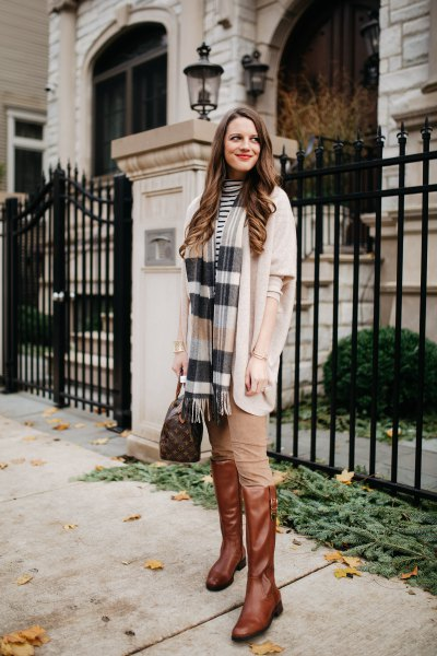 white knit cardigan striped scarf
