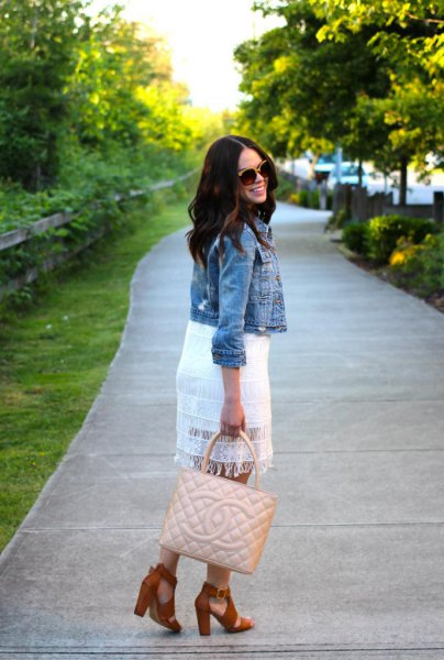 white lace dress with short denim jacket