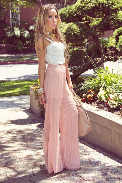 white lace vest top pink pleated pants