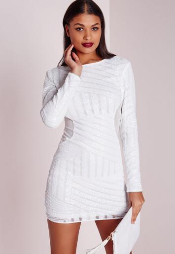 white long sleeve bodycon mini dress subtle pattern