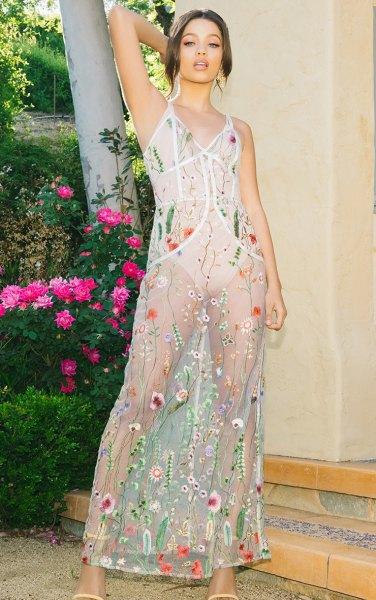 white mesh floral maxi dress