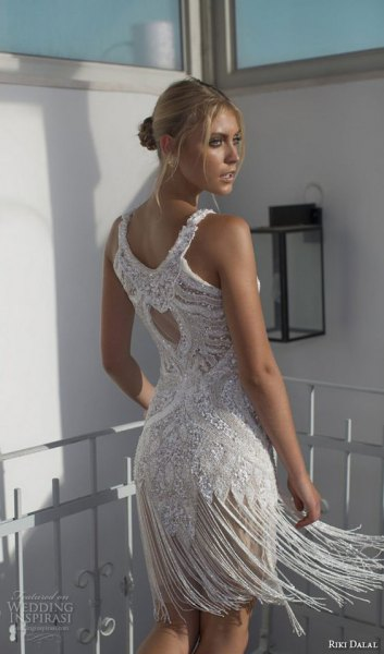 white mini beaded fringe wedding dress