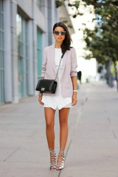 white mini dress grey blazer silver strappy heels