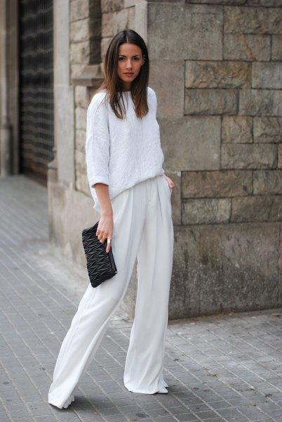 white pants three quarter sleeve chunky sweater