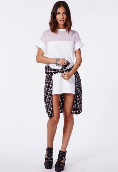 white shift dress plaid shirt tied around waist