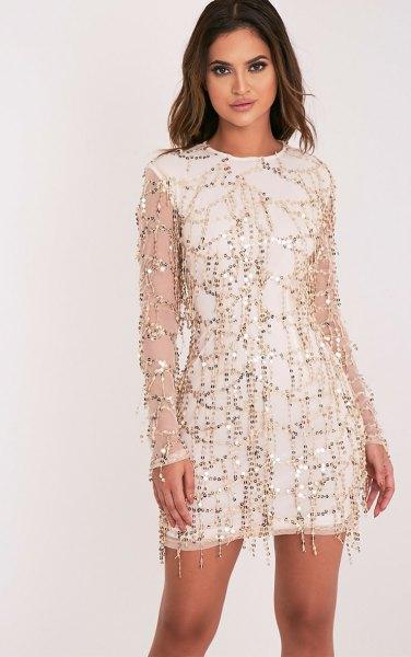 white sleeveless shift dress rose gold sequin sheer overlay