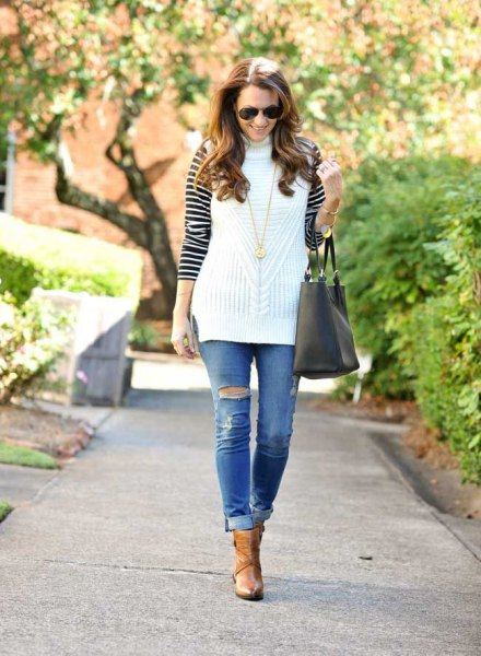 white sleeveless sweater black and white striped t shirt