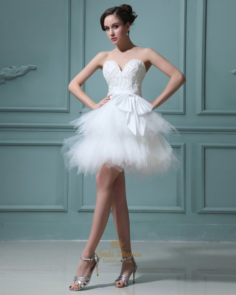 white strapless ballet dress