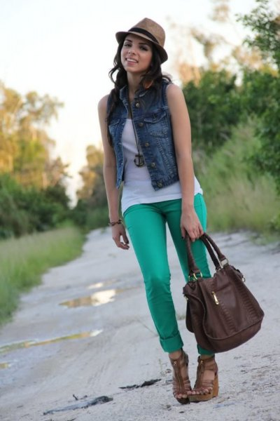 white tank top denim vest