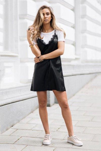 white tee black scalloped hem slip dress