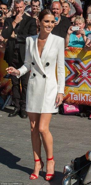 white tuxedo dress red ankle strap open toe heels
