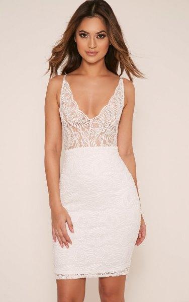 white two toned bodycon dress
