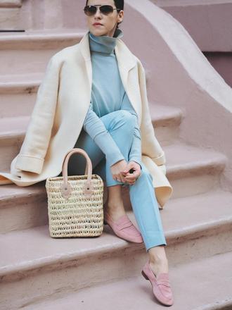 white wool blazer baby blue turtleneck sweater pants