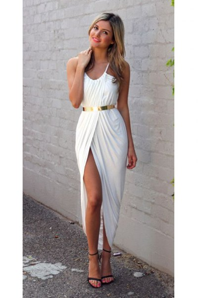 white wrap maxi dress gold belt