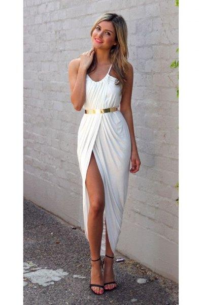 white wrap maxi dress gold belt