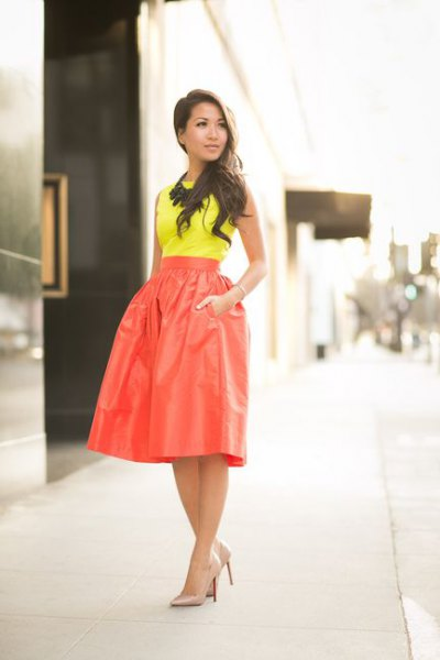yellow top high waisted red flare skirt