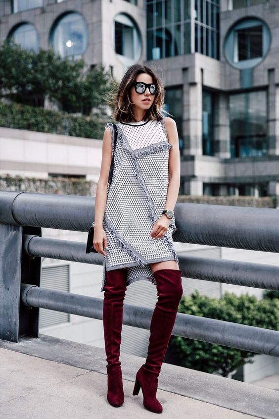 tweed dress statement boots