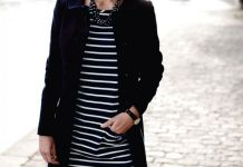 black and white striped dress french