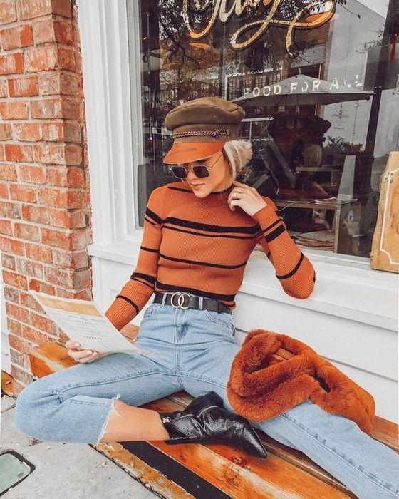 burnt orange sweater stripes