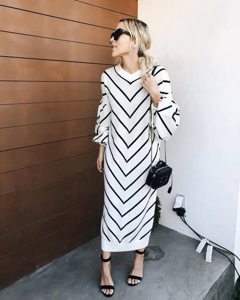 black and white striped dress modern