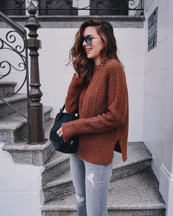burnt orange sweater neutral