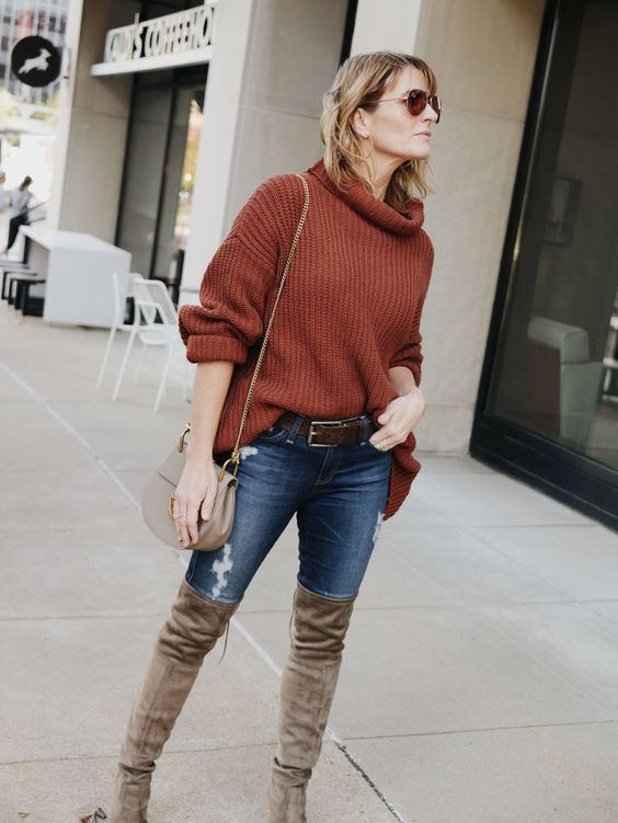 burnt orange sweater thigh high boots