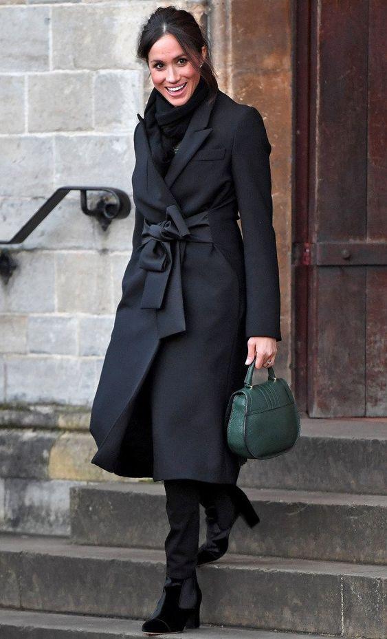 wool wrap coat black royal