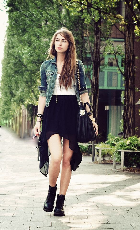 best black high low skirt outfits