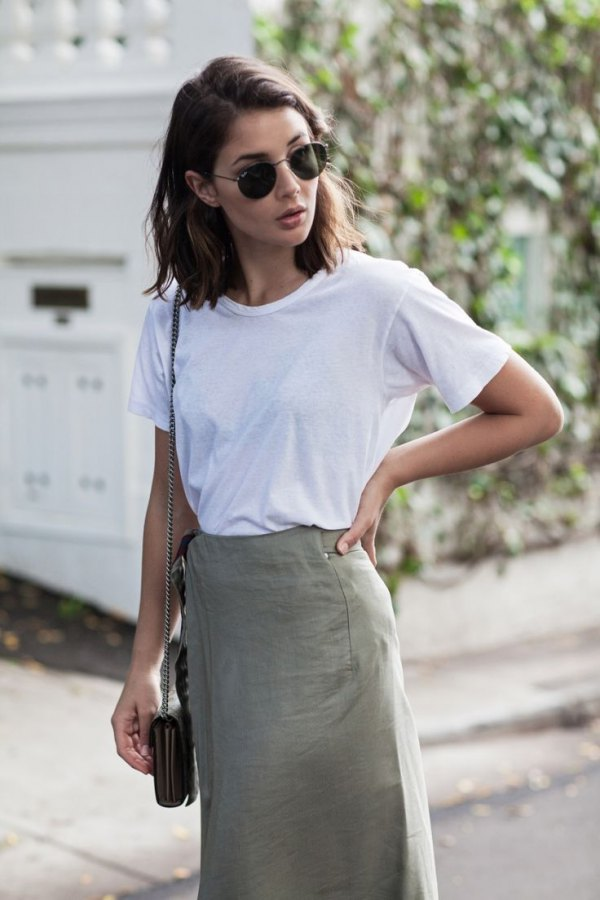 3048758913 How to Wear Khaki Skirt  15 Stylish Outfit Ideas - FMag.com