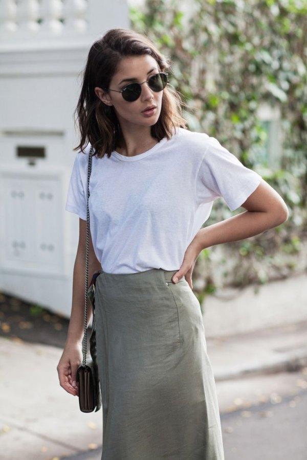 How to Wear Khaki Skirt  15 Stylish Outfit Ideas - FMag.com 8a34002aa