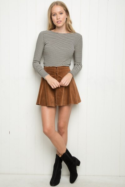 black and white long sleeve striped t shirt skater skirt