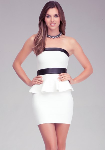 black and white peplum tube dress