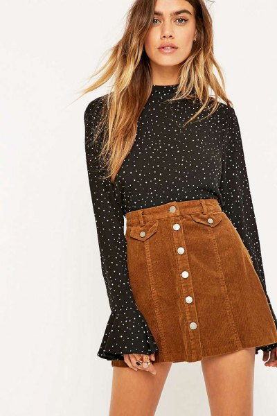 black and white polka dot bell sleeve blouse