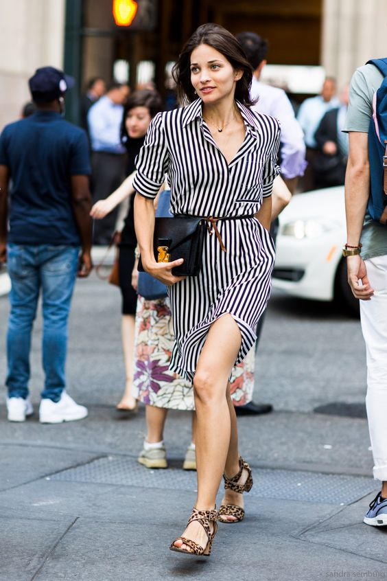 black and white striped dress mixing patterns