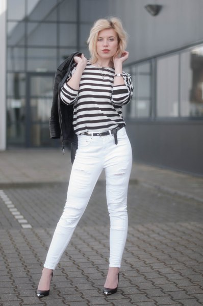 black and white striped long sleeve tee jeans