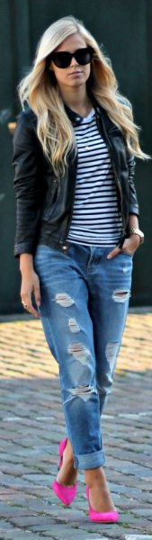 black and white striped tee leather jacket