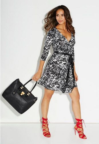 black and white tribal printed wrap dress red heels