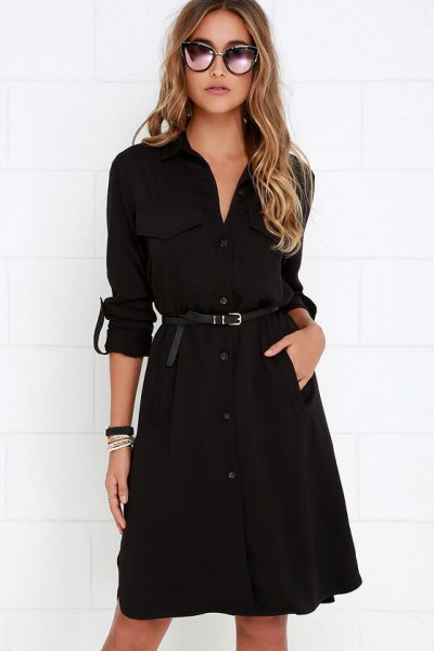 black belted trench coat dress