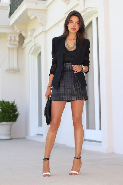 black blazer high waisted quilted skirt