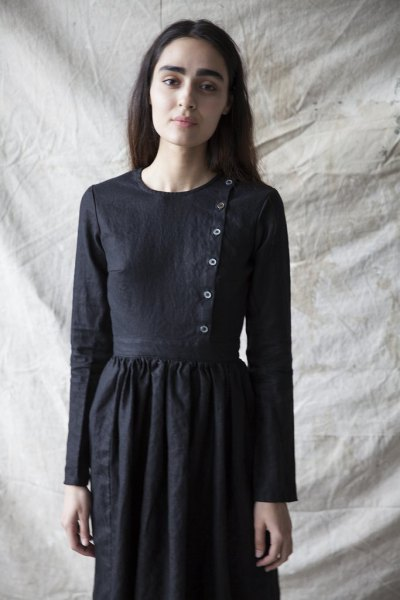 black button front linen breezy dress