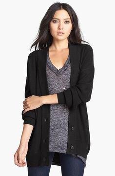 black cardigan oversized v neck grey knit sweater