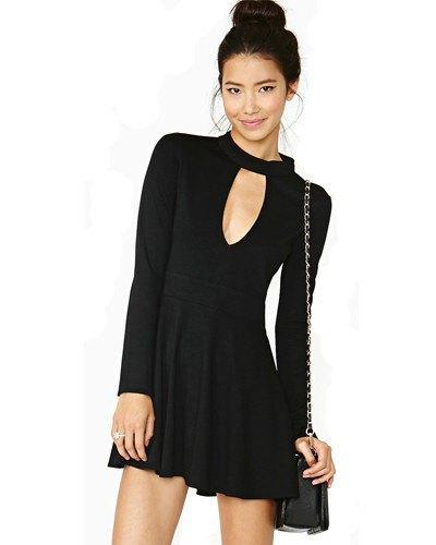black choker neck keyhole skater dress