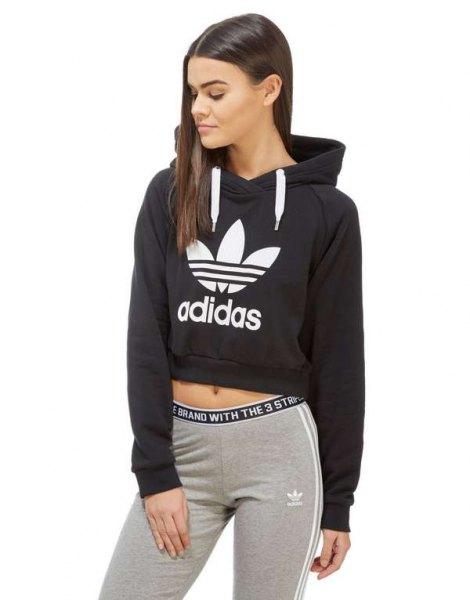black cropped hoodie grey running tights